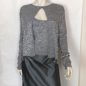 Chetta B Evening silver fringe sweater skirt set L